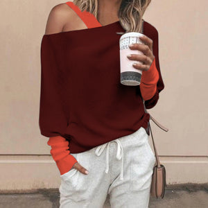 Women's Casual Round Neck Coloring Long Sleeve Loose Sweater