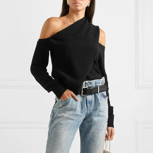 Casual Off-shoulder Pure Colour Sweater
