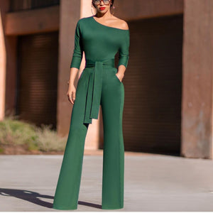 Casual Off-shoulder Halflong Sleeve Jumpsuit