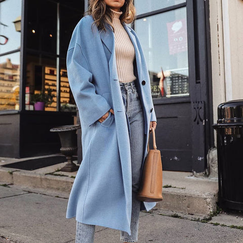 Elegant Solid Color Two Button Coat