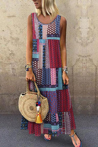 Bohemian Splicing Round Neck Sleeveless Casual Maxi Dress