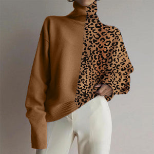 Fashionable loose high collar leopard stitching sweater