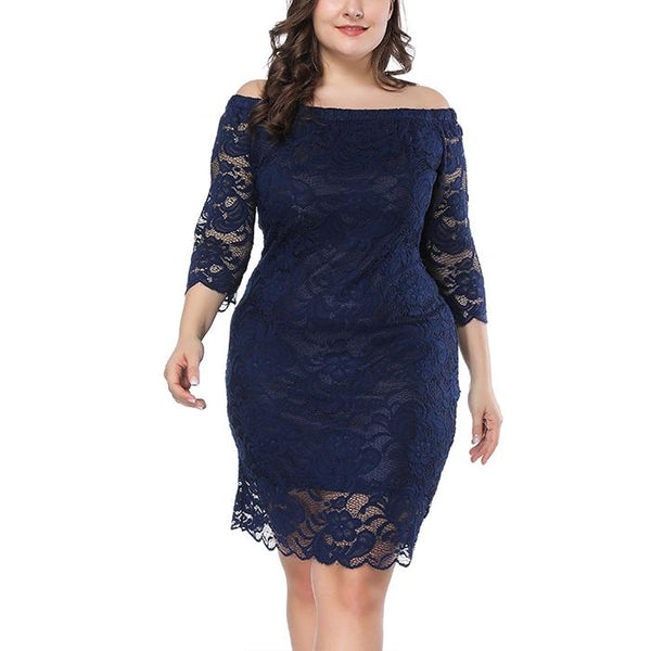 Plus-size Pure Color Lace Loose One Word Shoulder Cropped Sleeves Bodycon Dress