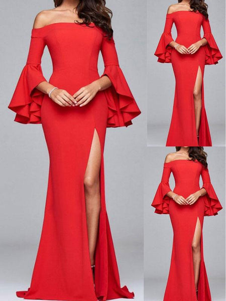 Off Shoulder Cutout High Slit Patchwork  Ruffles Curved Plain Maxi Evening Dresses