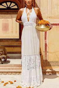 Bohemian V Neck Lace Pure Colour Hollow Out See-Through Dress