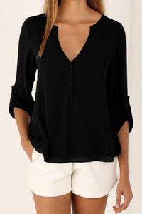 Chiffon Deep V Neck Single Breasted Casual Blouses