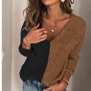 Women's color matching V-neck long-sleeved sweater