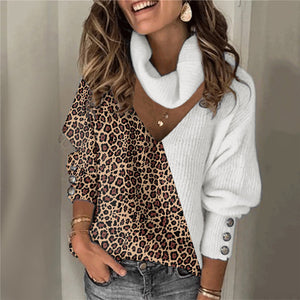 Casual Long Sleeve Patchwork Leopard Print Sweater