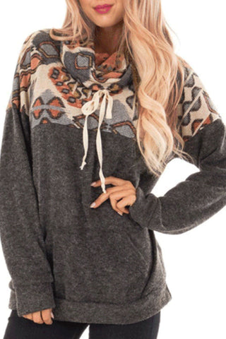 Ture Neck  Patchwork Casual Hoodies