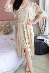 Pajamas Simulation Silk Nightdress Sexy Two-piece Home Service