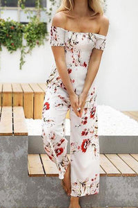 Sexy Off-Shoulder Print Wide Leg Floral Jumpsuit Rompers