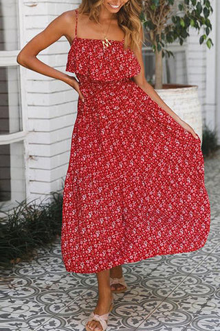 Casual Sexy Off The   Shoulder Bohemian Style Floral Print Sling Maxi Dresses
