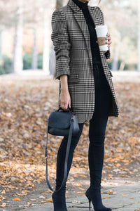 Winter Vintage Lapel Collar Plaid Cashmere Coat