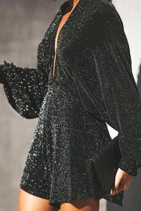Backless Vneck Sexy Flash Sequins Bat Long Sleeve Evening Jumpsuit Dress