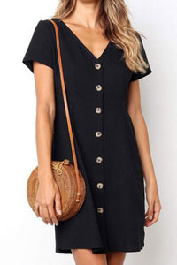 Daily Plain  V Collar Loose Casual Mini Dress