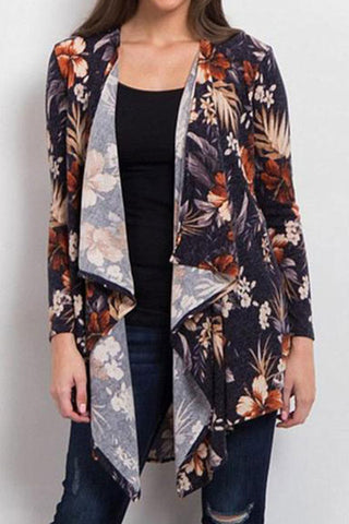 Printed Casual Irregular Long Sleeves Cardigan