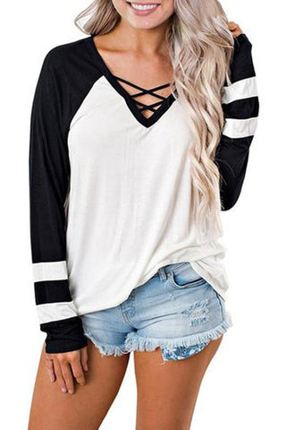 V Neck Hollow Out Long Sleeve Casual T-Shirts