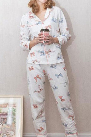 Pajamas Bow Print Lapel Long Sleeve Suit Home Service