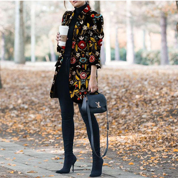 Winter Fashion Printed Long-Sleeved Suit Jacket