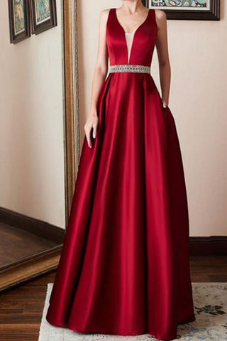Spaghetti Strap Belt Plain Evening Dresses