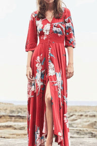 Ethnic Style V Collar Puff Sleeves Floral Printed Slim Vacation Maxi Dress