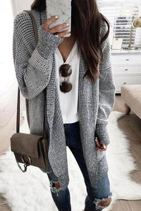 Fashion Plaids Long Sleeve Cardigan