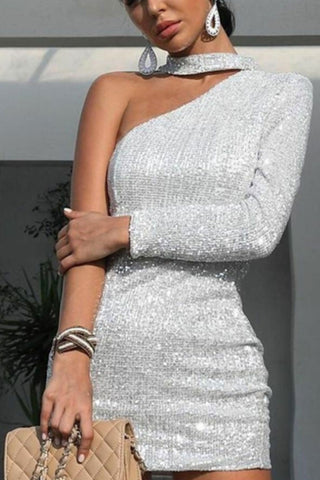 Fashion Sexy Shiny Asymmetric Strapless One Shoulder Evening Dress