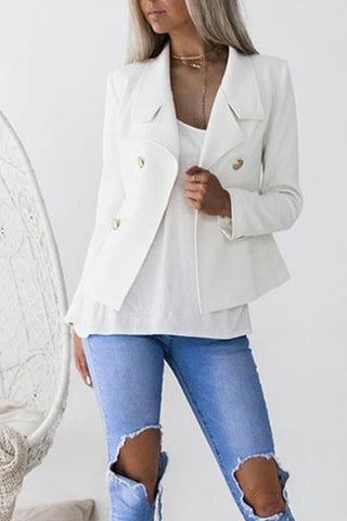 Turn Down Collar Double Breasted  Plain Blazers Jacket