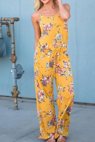 Sexy Digital Print Straps Floral Jumpsuit Rompers