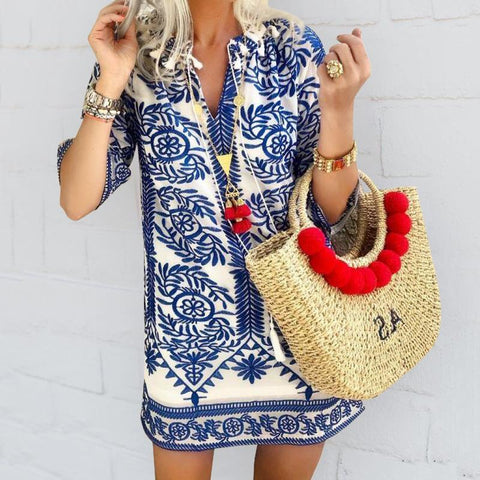 Bohemian Vintage Printed Summer Loose Shift Beach Casual Dress