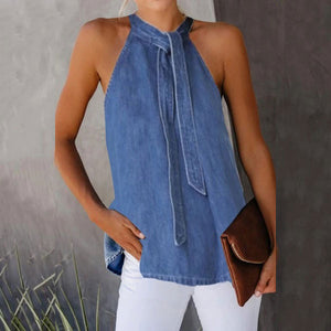 Casual Lace-Up Denim Vest Shirt