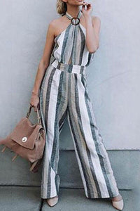 Halter  Backless  Striped  Sleeveless Jumpsuits