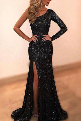 Elegant Slash Neck Spilt Sequin Evening Dress