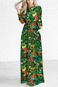 Christmas Hat Pattern Printed Maxi Dress