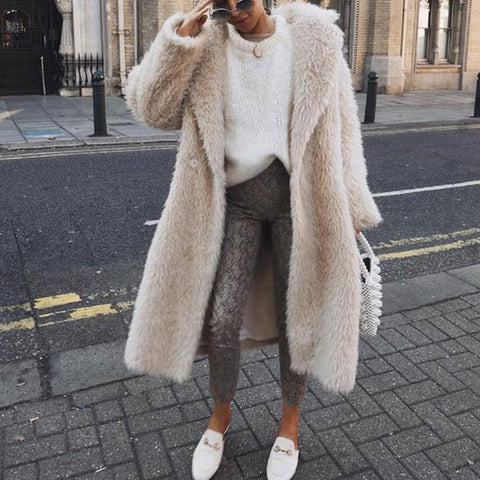 Fashion Lapel Collar Long Faux Fur Coat