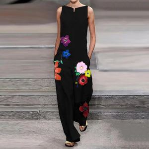 Stylish Boat Neck Floral Print Sleeveless Jumpsuit