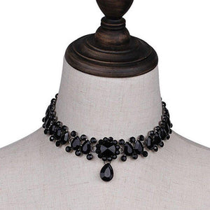 Drop Faux Crystal Choker Necklace