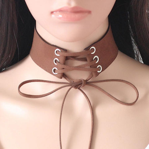 Lace Up Boho Choker Necklace