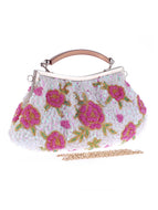 Floral Bead Glitter Evening Clutch Bag