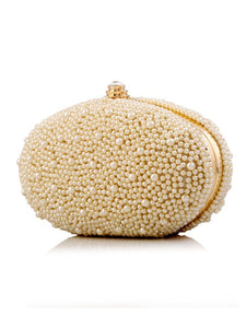 Pearl Beading Elliptical Clutch Bag