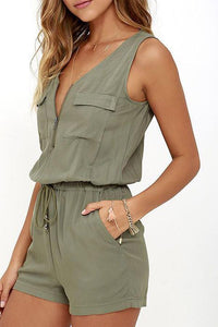 V Neck  Single Button Zipper  Belt Loops  Plain  Sleeveless Playsuits