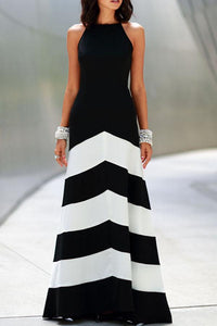 Backless  Color Block Wave Stripe  Sleeveless Maxi Casual Dresses