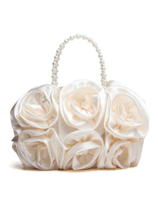 Satin Floral Bead Handle Clutch Bag