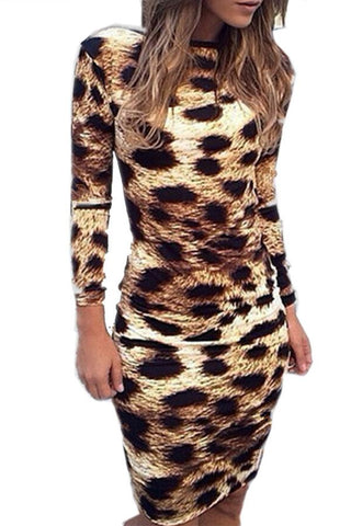 Round Neck Backless Leopard Printed Bodycon Dresses