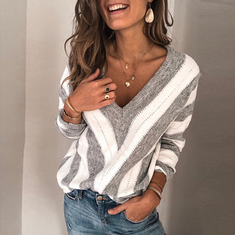 Casual V-neck Geometric Colorblock Long-sleeved Sweater