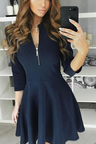 Round Neck  Zipper  Plain Skater Dresses