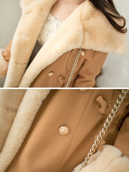 Lapel Double Breasted Drawstring Faux Fur Coat