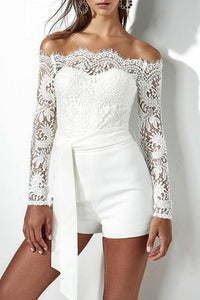 Off Shoulder  Patchwork  Belt  Lace Plain Playsuits