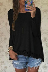 Round Neck  Asymmetric Hem Ruffle Trim  Plain T-Shirts