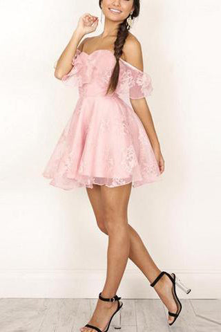 Cutaway Collar Frock Shoulder Strap Skater Dress
